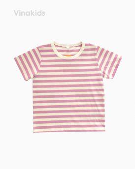 Áo thun ngắn tay bé gái kẻ màu tím ( 3-5 Tuổi)