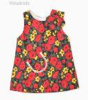 : Váy bé gái chữ A hoa đỏ vàng