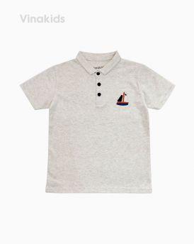 Áo Thun bé trai thêu thuyền màu ghi (7-12 tuổi)