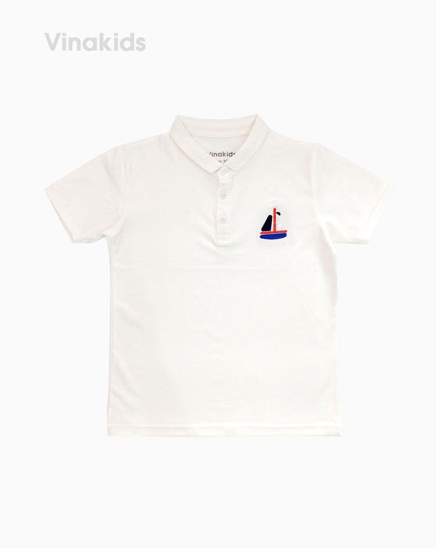 Áo Thun bé trai thêu thuyền màu trắng (7-12 tuổi)