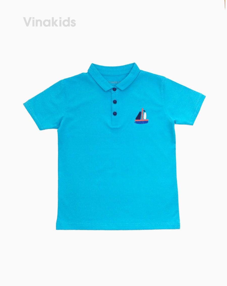 Áo Thun bé trai thêu thuyền màu xanh (7-12 tuổi)
