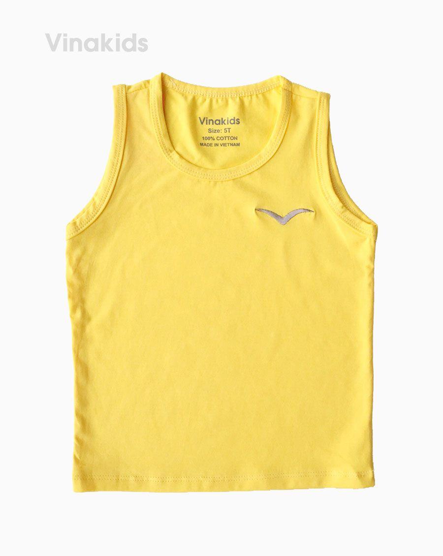 Áo ba lỗ bé trai thêu logo Vinakids màu vàng (1-6 tuổi)