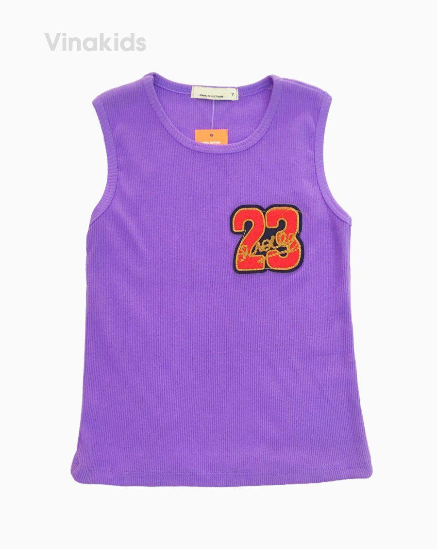 Áo ba lỗ dãn bé gái số 23 màu tím( 3-6 Tuổi)