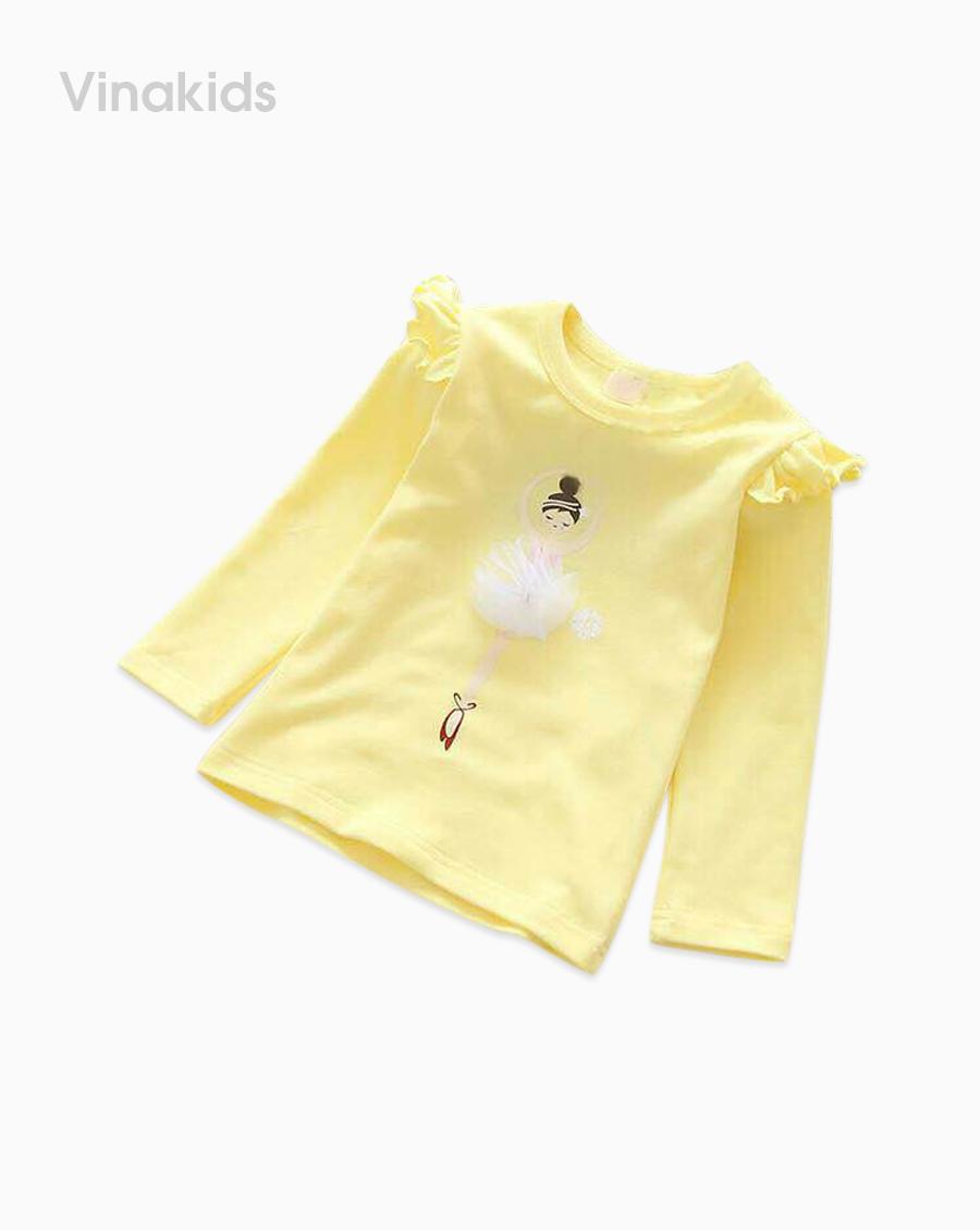 Áo bé gái bale màu vàng