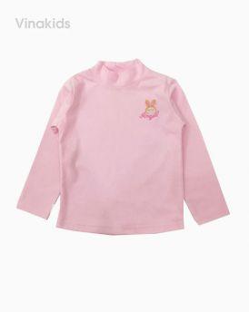 Áo bé gái cổ 3 phân thêu thỏ màu hồng phấn (5-7 Tuổi)