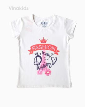 Áo bé gái có tay fashion màu trắng ( 6-10 tuổi)
