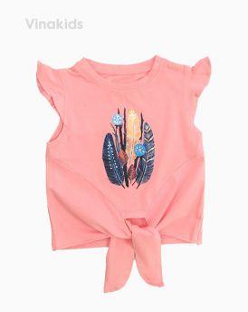 Áo bé gái cột nơ lai in hình lông vũ màu hồng (1-7 Tuổi)