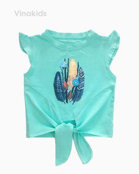 Áo bé gái cột nơ lai in hình lông vũ màu xanh (1-7 Tuổi)