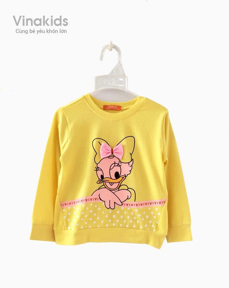 Áo bé gái dài tay hình vịt Donal màu vàng (2-8 tuổi)