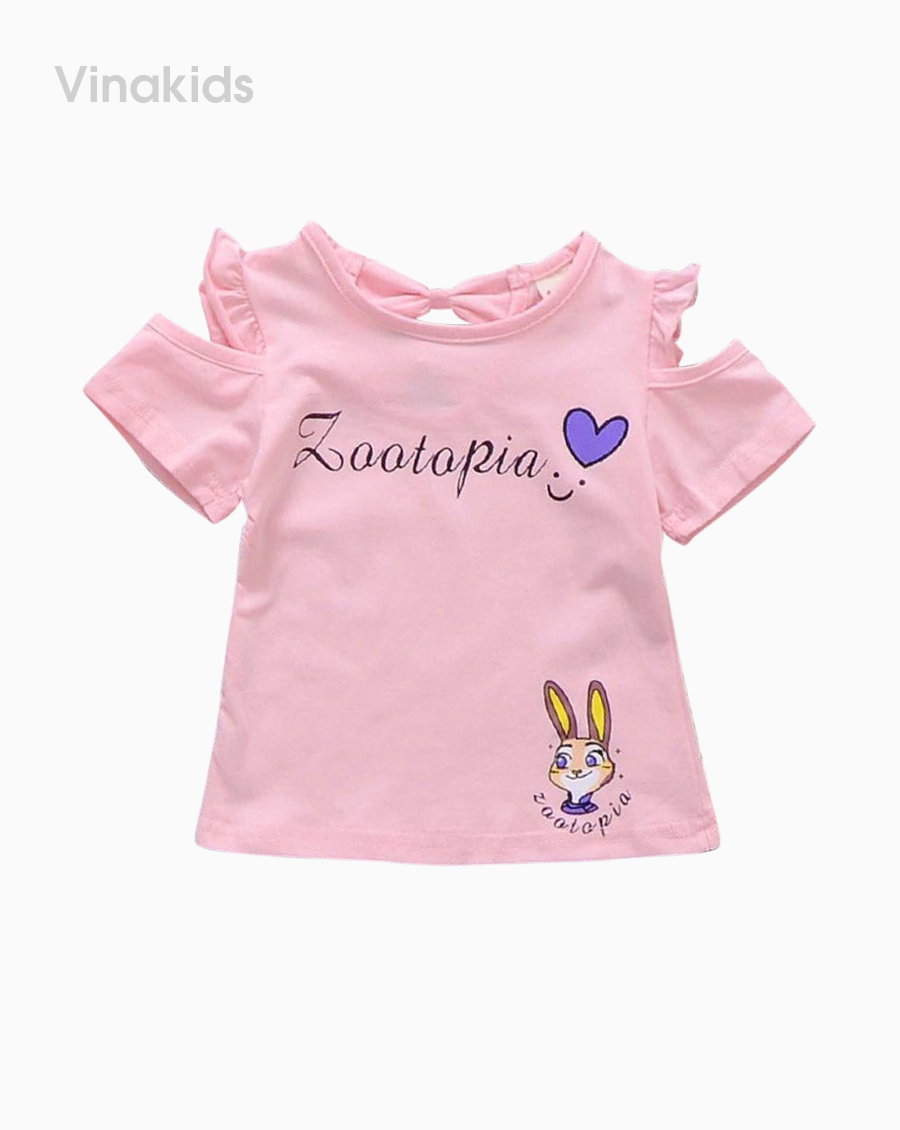 Áo bé gái hở vai thỏ Zootopia màu hồng phấn
