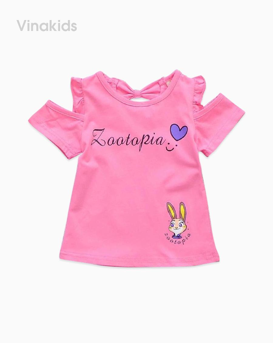 Áo bé gái hở vai thỏ Zootopia màu hồng sen
