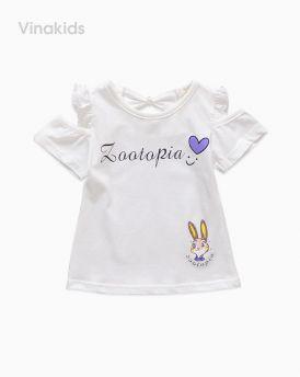 Áo bé gái hở vai thỏ Zootopia màu trắng