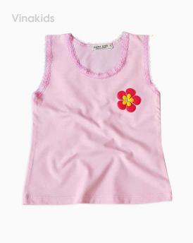 Áo bé gái sát nach hoa viên ren màu hồng phấn size nhí