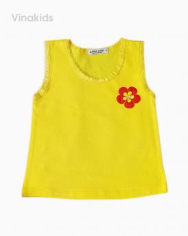Áo bé gái sát nach hoa viên ren màu vàng size nhí