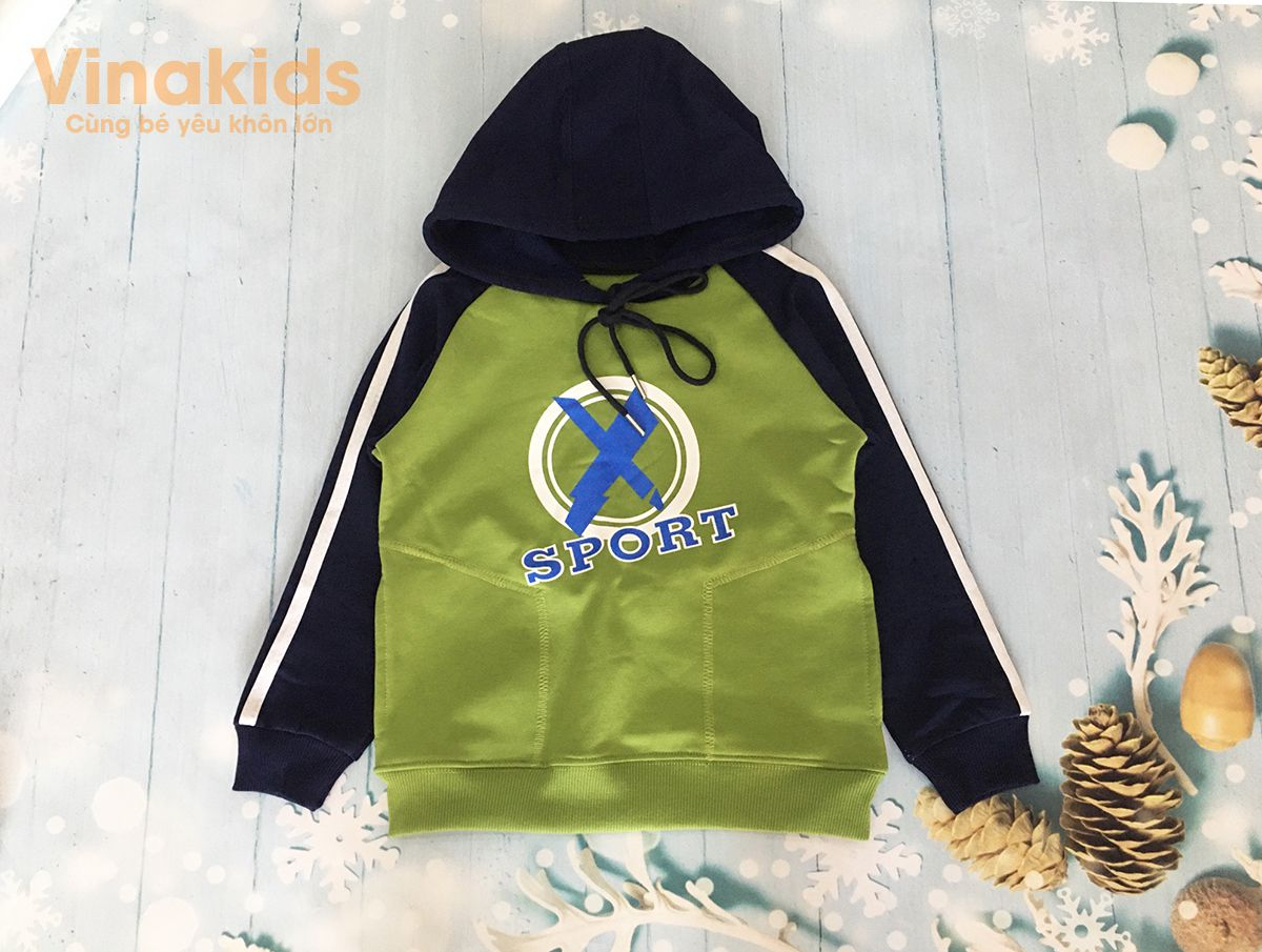 Áo bé trai Hoodie sport màu xanh lá (8-12 Tuổi)