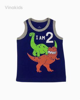 Áo bé trai ba lỗ 1-5 tuổi hình khủng long màu xanh dương