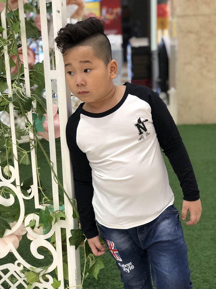 Áo bé trai chữ N màu trắng phối tay đen (2-7 tuổi)