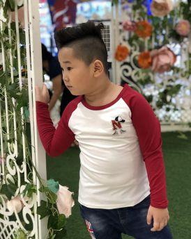Áo bé trai chữ N màu trắng phối tay màu đỏ đô (9-14 tuổi)