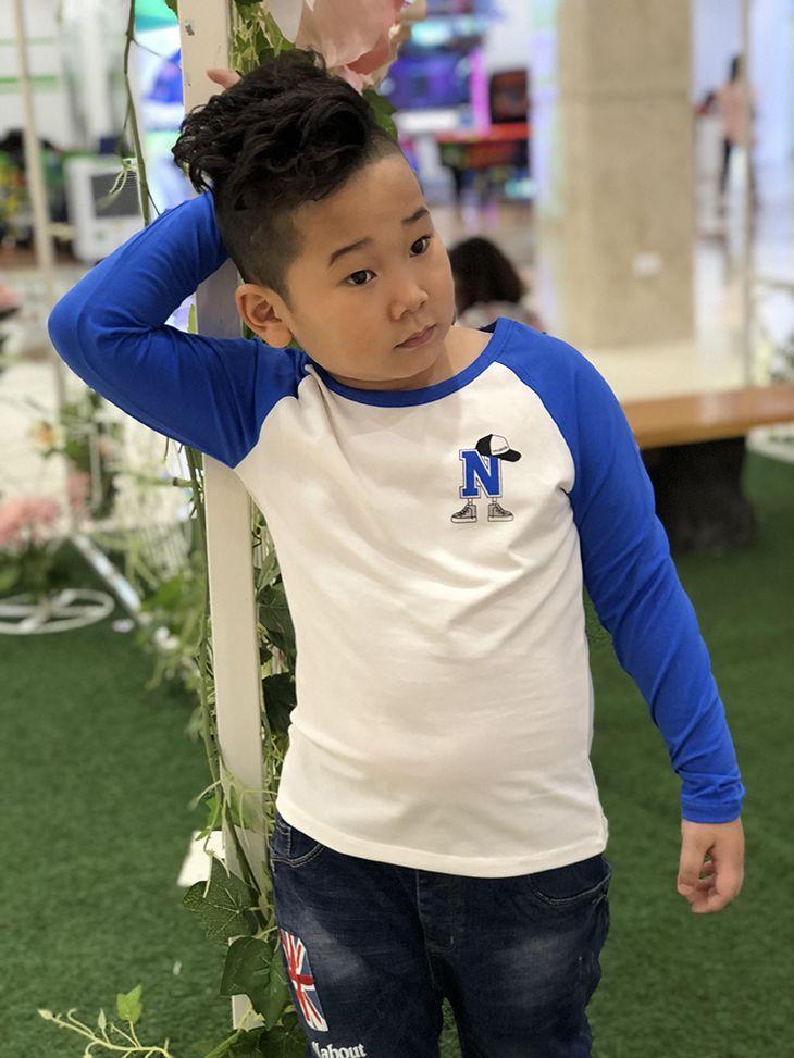 Áo bé trai chữ N màu trắng phối tay nước biển (9-14 tuổi)
