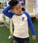 Áo bé trai chữ N màu trắng phối tay xanh biển (2-7 tuổi)