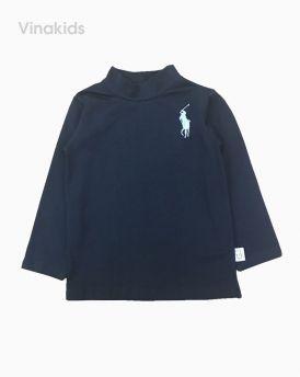 Áo bé trai cổ ba phân thêu ngựa màu đen (1-7 tuổi)