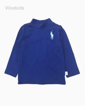 Áo bé trai cổ ba phân thêu ngựa màu tím than (1-7 tuổi)