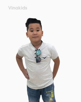 Áo bé trai cổ tàu thêu logo Vinakids màu Ghi (6-12 tuổi)