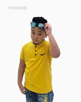 Áo bé trai cổ tàu thêu logo Vinakids màu vàng (6-12 tuổi)