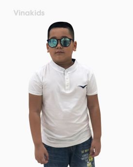 Áo bé trai cổ tàu thêu logo Vinakids màu trắng (6-12 tuổi)