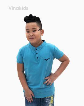 Áo bé trai cổ tàu thêu logo Vinakids màu xanh (6-12 tuổi)