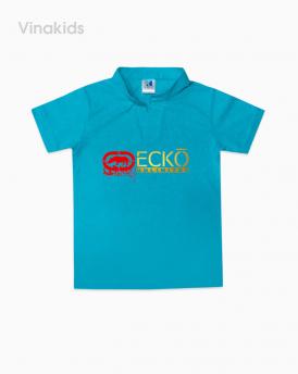 Áo bé trai cổ trụ ECKO màu xanh size nhí