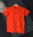Áo bé trai cổ trụ chữ V màu cam( cỡ 35kg đến 60kg)