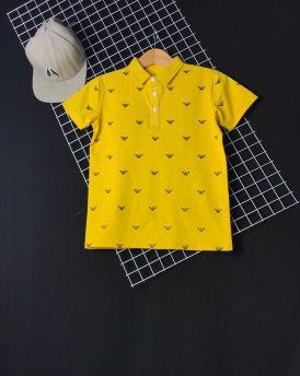Áo bé trai cổ trụ chữ V màu vàng ( cỡ 35kg đến 60kg)