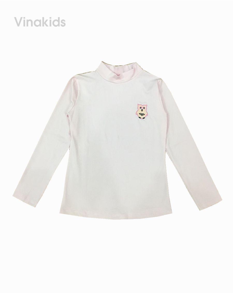 Áo cổ ba phân bé gái thêu chim màu hồng nhạt (7-11 tuổi)