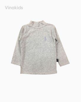 Áo cổ ba phân cotton len thêu ngựa màu ghi (1-6 tuổi)
