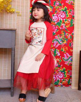 Áo dài bé gái phối tay đỏ size cỡ 10kg -30kg