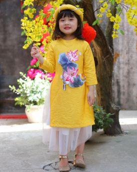 Áo dài bé gái thêu sen màu vàng size 30kg -45kg