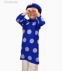 Áo dài bé trai đồng tiền màu xanh