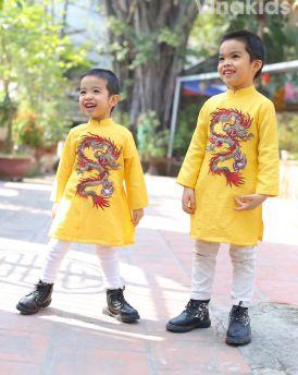 Áo dài bé trai họa tiết rồng màu vàng size từ 10kg -30kg