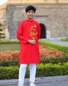 Áo dài bé trai màu đỏ thêu rông từ 30kg -50kg