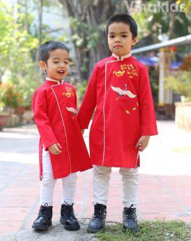 Áo dài bé trai thêu hạc màu đỏ size từ 10kg - 30kg