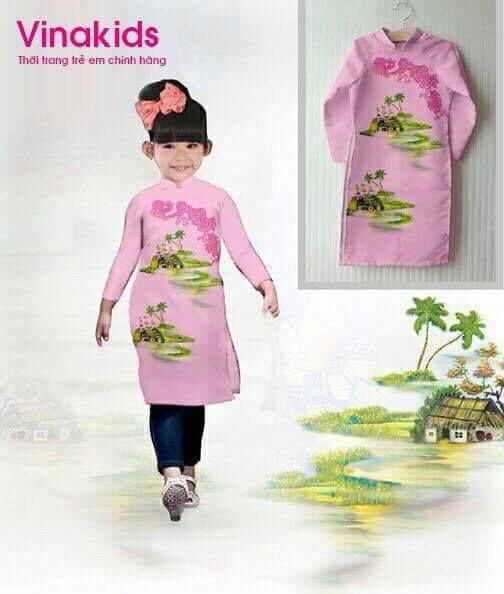 Áo dài cách tân bé gái họa tiết đồng quê màu hồng phấn (1-7 tuổi)