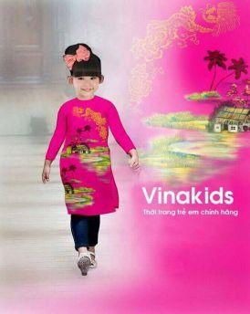 Áo dài cách tân bé gái họa tiết đồng quê màu hồng sen (1-7 tuổi)