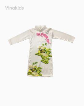 Áo dài cách tân bé gái họa tiết đồng quê màu trắng (1-7 tuổi)