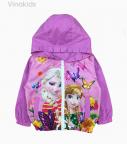 Áo khoác gió bé gái công chúa Elsa & Anna màu tím (1-7 tuổi)