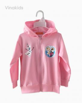 Áo khoác bé gái da cá Elsa & Anna hồng phấn size đại