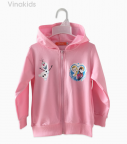Áo khoác bé gái da cá Elsa & Anna màu hồng phấn size nhí