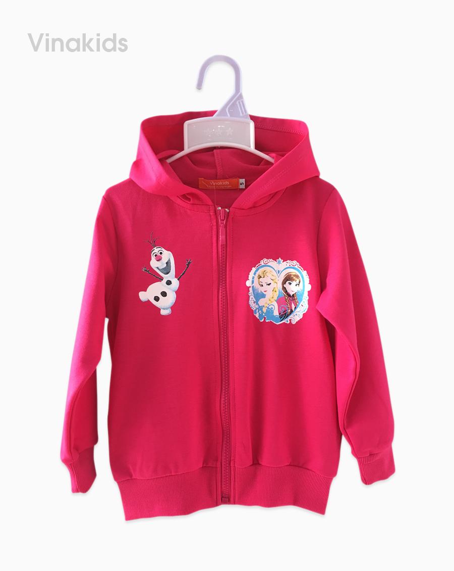 Áo khoác bé gái in elsa màu hồng sen đại