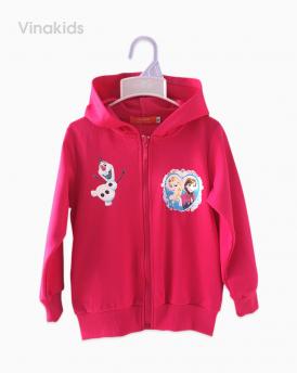 Áo khoác bé gái da cá Elsa & Anna màu hồng sen size nhí