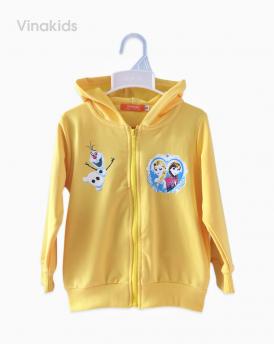 Áo khoác bé gái da cá Elsa & Anna màu vàng size nhí